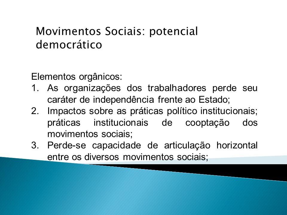 Elementos orgânicos: 1.As organizações dos trabalhadores perde seu caráter de independência frente ao Estado; 2.Impactos sobre as práticas político in