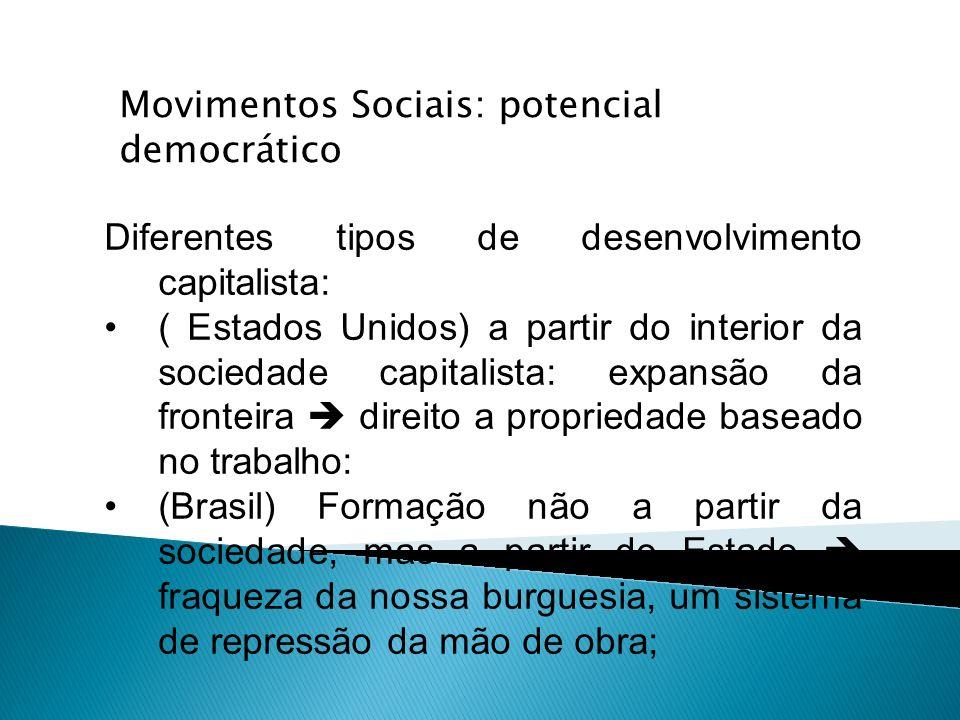 Diferentes tipos de desenvolvimento capitalista: ( Estados Unidos) a partir do interior da sociedade capitalista: expansão da fronteira direito a prop