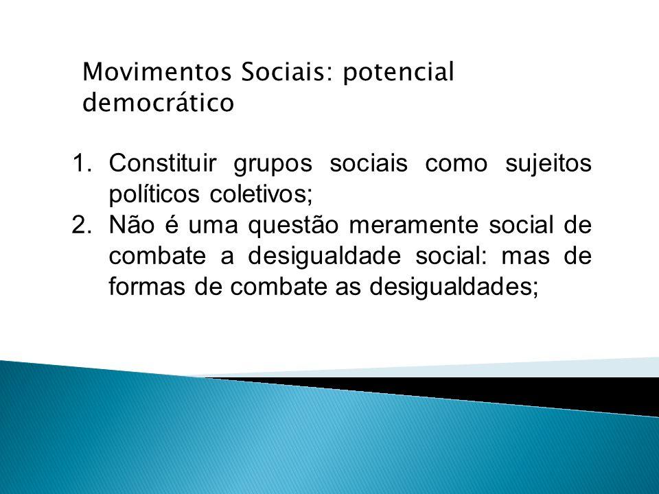 1.Constituir grupos sociais como sujeitos políticos coletivos; 2.Não é uma questão meramente social de combate a desigualdade social: mas de formas de