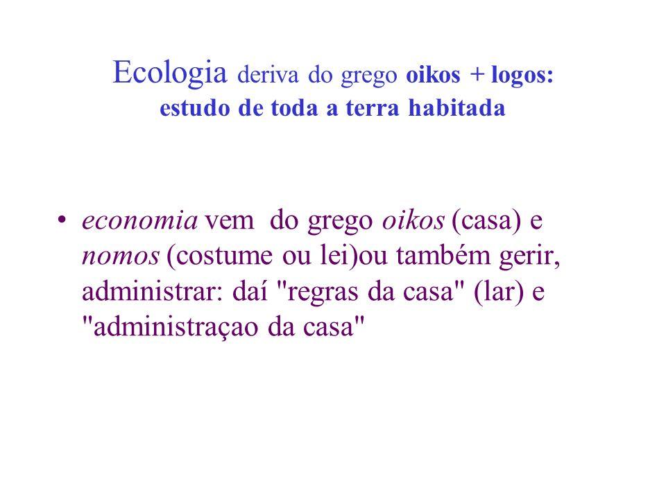 Ecologia deriva do grego oikos + logos: estudo de toda a terra habitada economia vem do grego oikos (casa) e nomos (costume ou lei)ou também gerir, ad