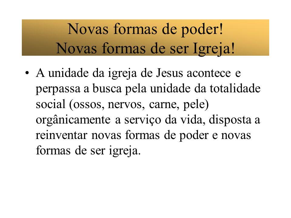 Novas formas de poder! Novas formas de ser Igreja! A unidade da igreja de Jesus acontece e perpassa a busca pela unidade da totalidade social (ossos,
