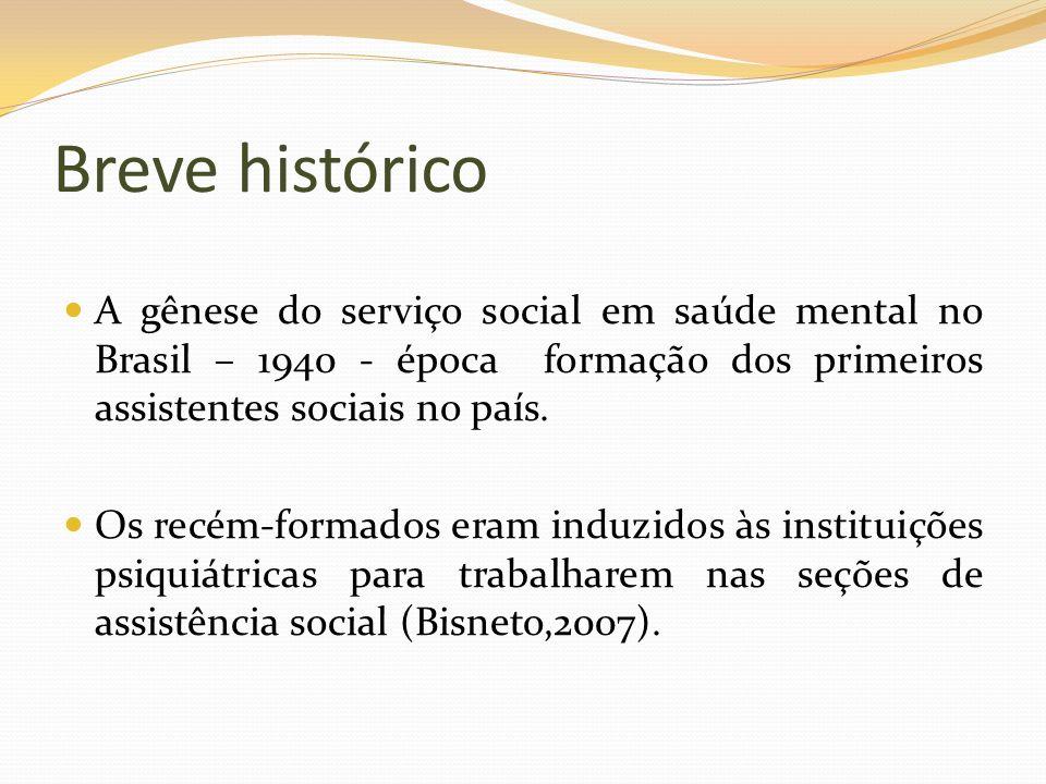 Breve histórico A gênese do serviço social em saúde mental no Brasil – 1940 - época formação dos primeiros assistentes sociais no país. Os recém-forma