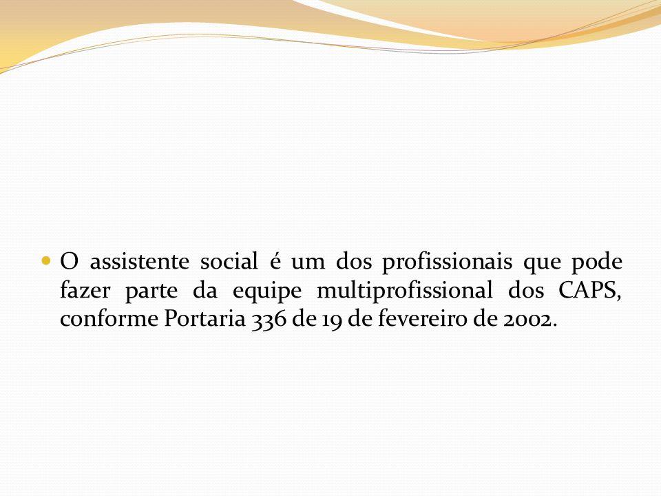 O assistente social é um dos profissionais que pode fazer parte da equipe multiprofissional dos CAPS, conforme Portaria 336 de 19 de fevereiro de 2002