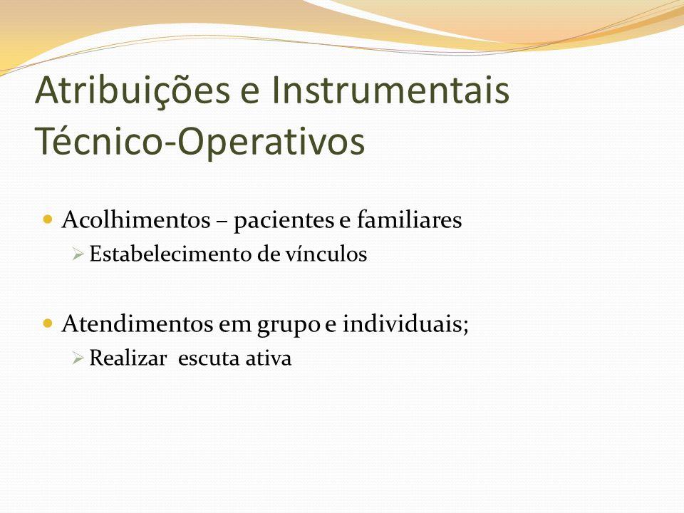 Atribuições e Instrumentais Técnico-Operativos Acolhimentos – pacientes e familiares Estabelecimento de vínculos Atendimentos em grupo e individuais;