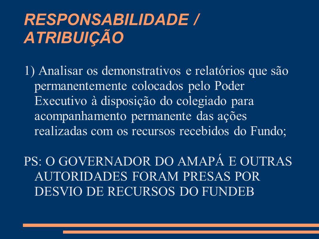 RESPONSABILIDADE / ATRIBUIÇÃO 1) Analisar os demonstrativos e relatórios que são permanentemente colocados pelo Poder Executivo à disposição do colegi