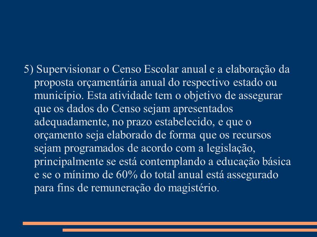 5) Supervisionar o Censo Escolar anual e a elaboração da proposta orçamentária anual do respectivo estado ou município. Esta atividade tem o objetivo