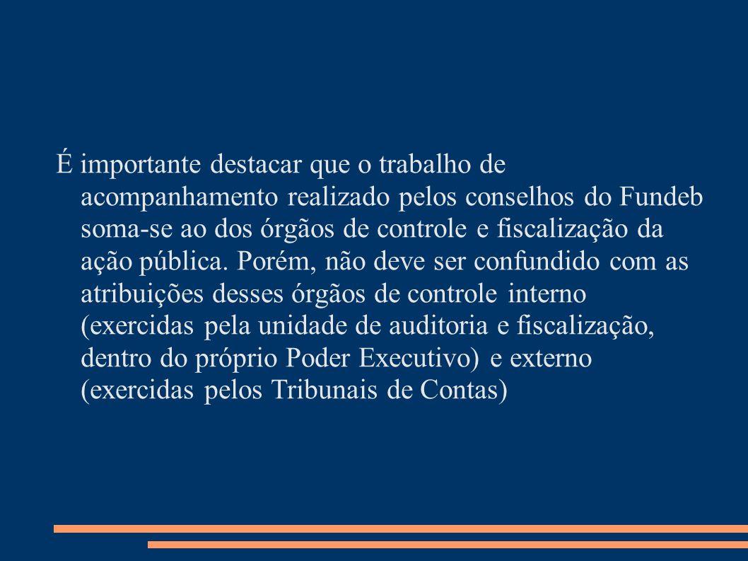 É importante destacar que o trabalho de acompanhamento realizado pelos conselhos do Fundeb soma-se ao dos órgãos de controle e fiscalização da ação pú