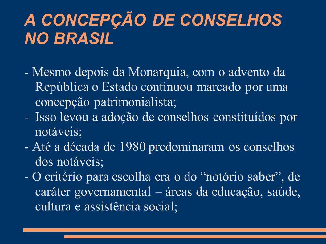 A CONCEPÇÃO DE CONSELHOS NO BRASIL - Mesmo depois da Monarquia, com o advento da República o Estado continuou marcado por uma concepção patrimonialist