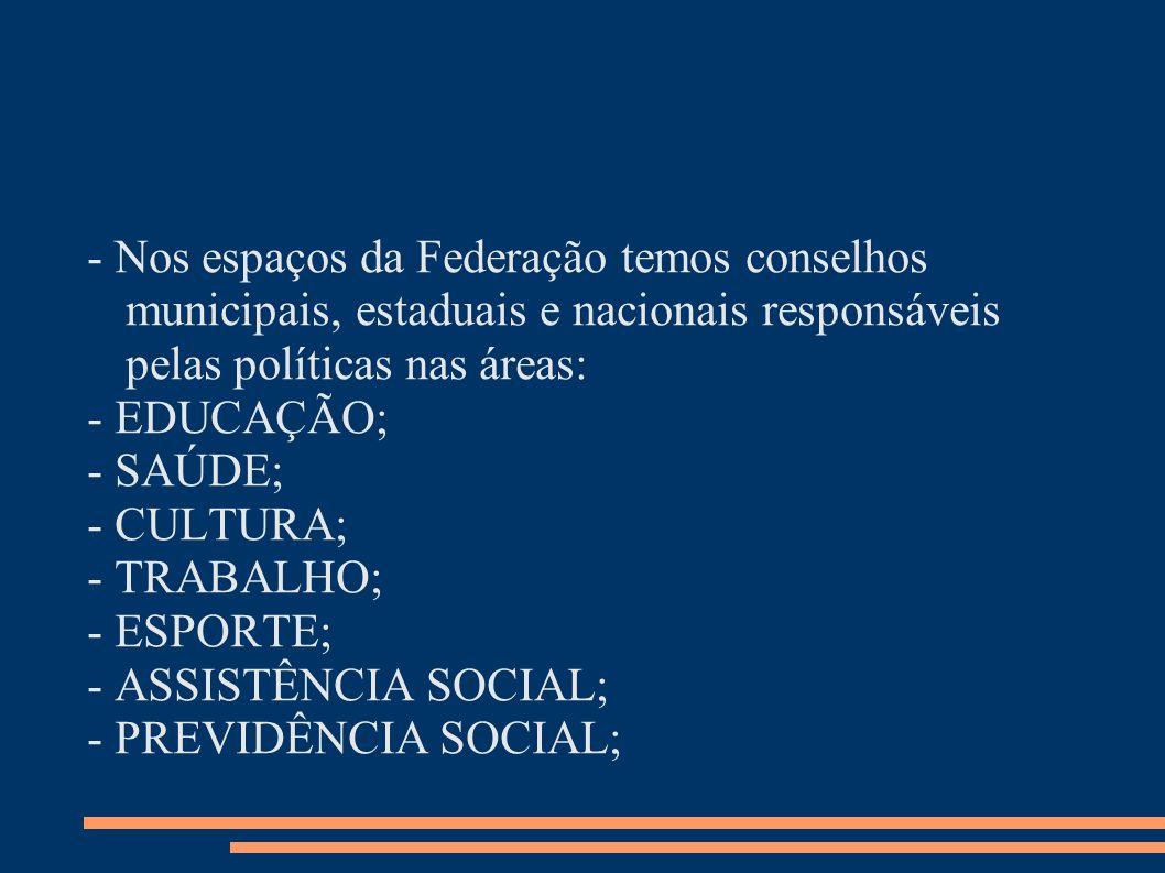 - Nos espaços da Federação temos conselhos municipais, estaduais e nacionais responsáveis pelas políticas nas áreas: - EDUCAÇÃO; - SAÚDE; - CULTURA; -