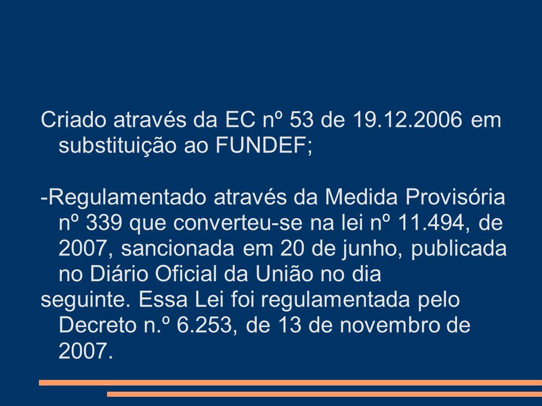 Criado através da EC nº 53 de 19.12.2006 em substituição ao FUNDEF; -Regulamentado através da Medida Provisória nº 339 que converteu-se na lei nº 11.4