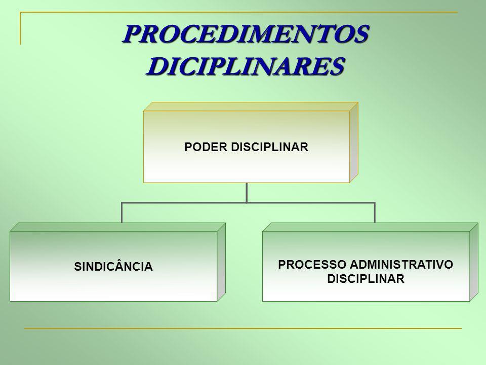 PROCEDIMENTOS DICIPLINARES PODER DISCIPLINAR SINDICÂNCIA PROCESSO ADMINISTRATIVO DISCIPLINAR