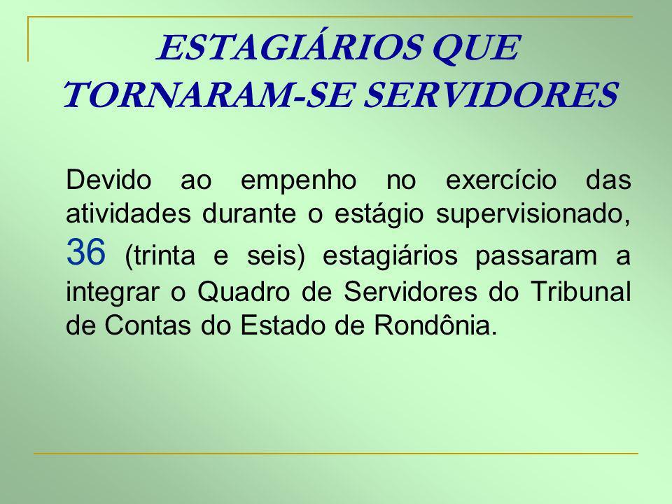 Devido ao empenho no exercício das atividades durante o estágio supervisionado, 36 (trinta e seis) estagiários passaram a integrar o Quadro de Servido