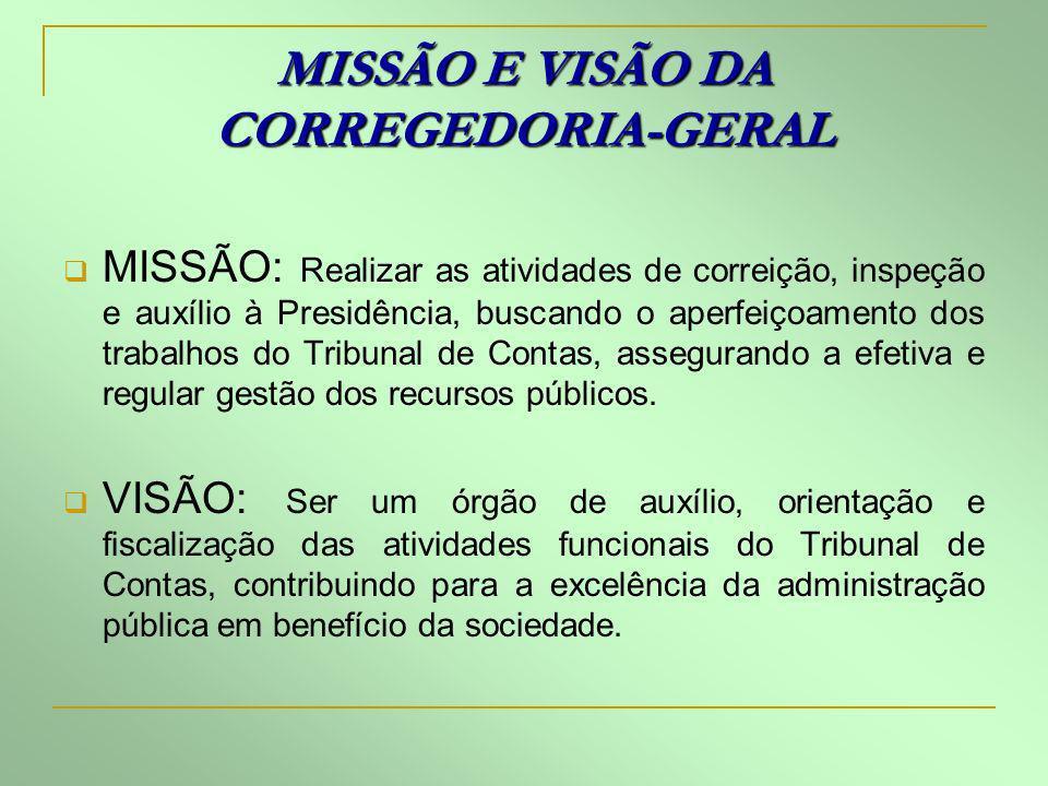 MISSÃO E VISÃO DA CORREGEDORIA-GERAL MISSÃO: Realizar as atividades de correição, inspeção e auxílio à Presidência, buscando o aperfeiçoamento dos tra