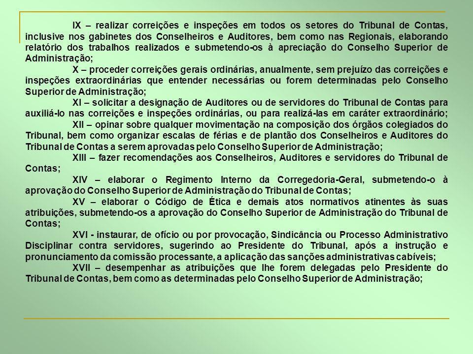 IX – realizar correições e inspeções em todos os setores do Tribunal de Contas, inclusive nos gabinetes dos Conselheiros e Auditores, bem como nas Reg