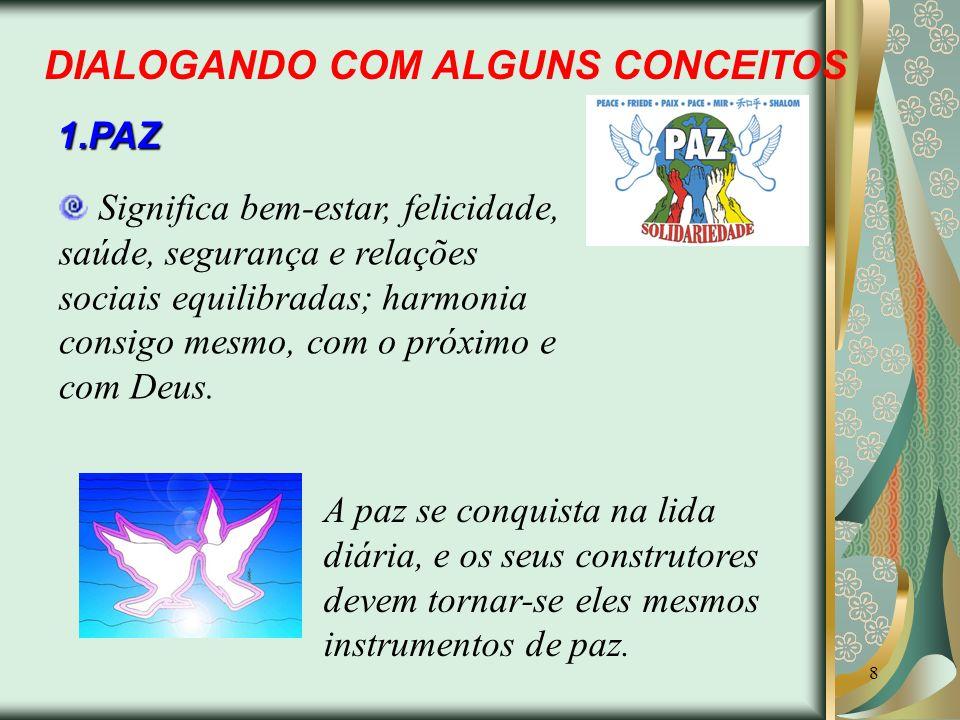 8 DIALOGANDO COM ALGUNS CONCEITOS 1.PAZ Significa bem-estar, felicidade, saúde, segurança e relações sociais equilibradas; harmonia consigo mesmo, com
