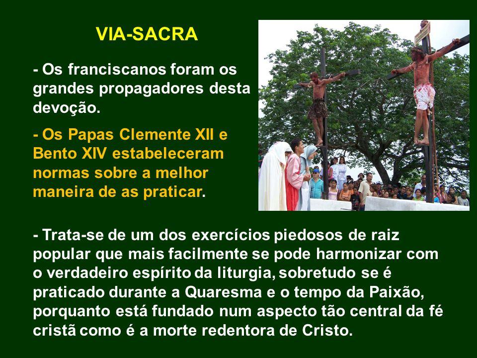 VIA-SACRA - Os franciscanos foram os grandes propagadores desta devoção. - Os Papas Clemente XII e Bento XIV estabeleceram normas sobre a melhor manei