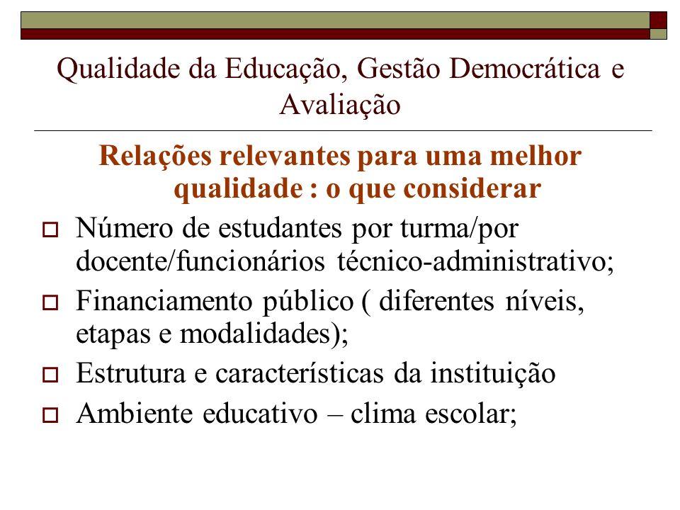 Qualidade da Educação, Gestão Democrática e Avaliação Relações relevantes para uma melhor qualidade : o que considerar Número de estudantes por turma/