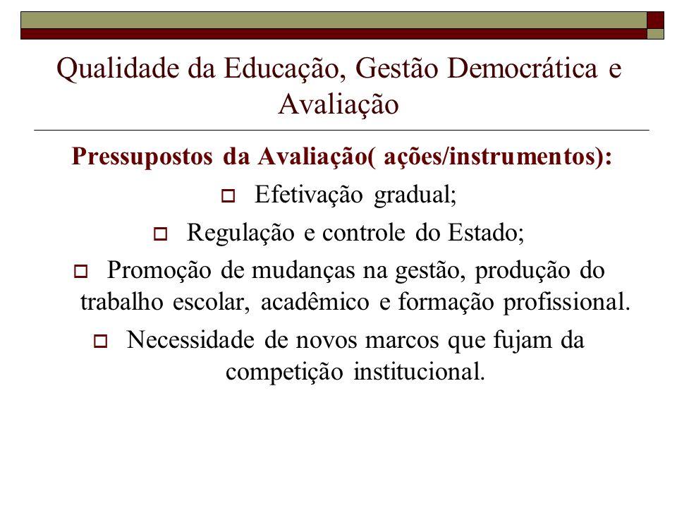 Qualidade da Educação, Gestão Democrática e Avaliação Pressupostos da Avaliação( ações/instrumentos): Efetivação gradual; Regulação e controle do Esta