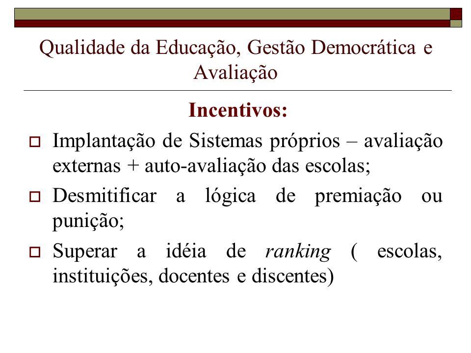 Qualidade da Educação, Gestão Democrática e Avaliação Incentivos: Implantação de Sistemas próprios – avaliação externas + auto-avaliação das escolas;