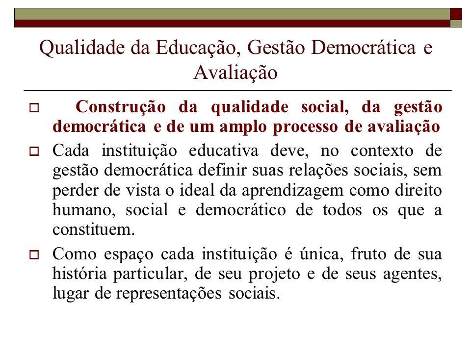 Qualidade da Educação, Gestão Democrática e Avaliação Construção da qualidade social, da gestão democrática e de um amplo processo de avaliação Cada i