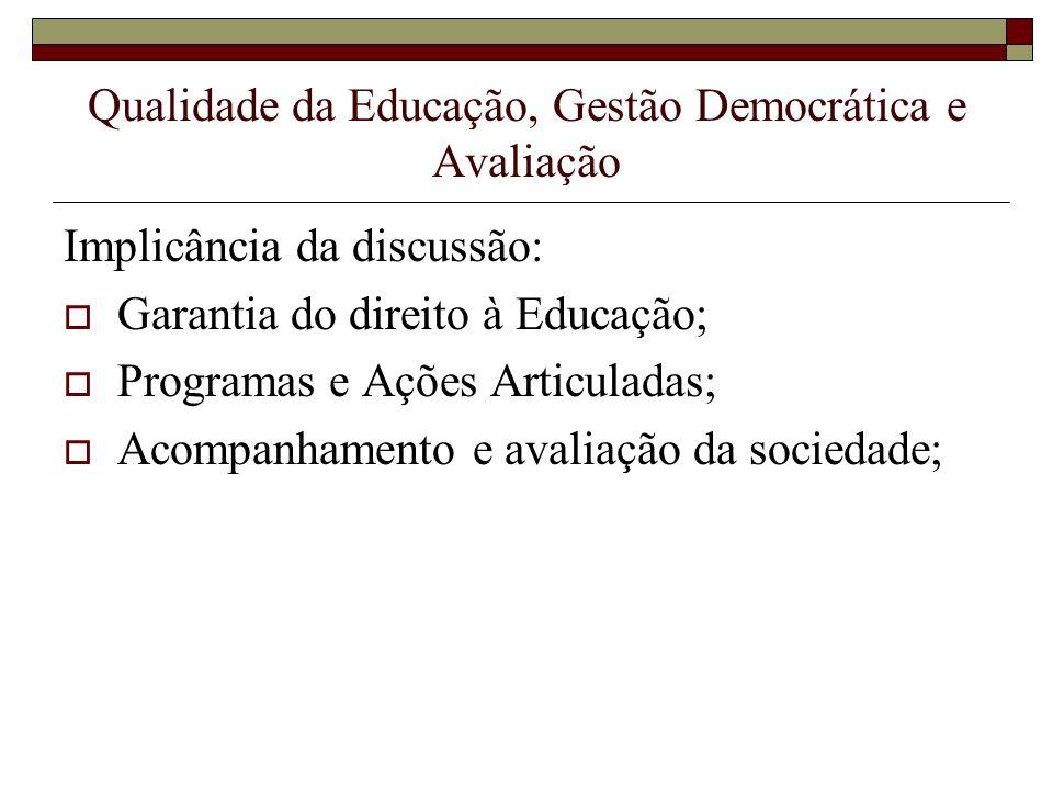Qualidade da Educação, Gestão Democrática e Avaliação Implicância da discussão: Garantia do direito à Educação; Programas e Ações Articuladas; Acompan