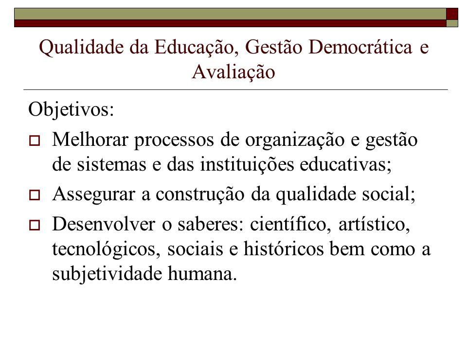 Qualidade da Educação, Gestão Democrática e Avaliação Função da Avaliação no contexto das discussões: Adquire centralidade; Acompanhamento dos resultados das novas competências da gestão; Base da melhoria dos processos avaliativos; Ações direcionadas para cada nível de ensino;
