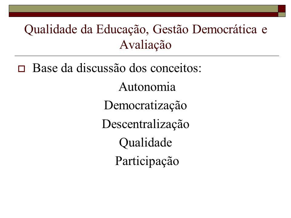Qualidade da Educação, Gestão Democrática e Avaliação Base da discussão dos conceitos: Autonomia Democratização Descentralização Qualidade Participaçã