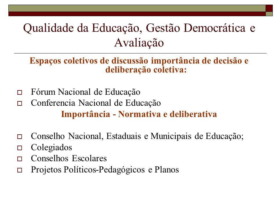 Qualidade da Educação, Gestão Democrática e Avaliação Caráter periódico para todos os envolvidos; Agregar outros indicadores institucionais de âmbito pedagógico e administrativo; Indissociabilidade entre ensino, pequisa e extensão ( IES).