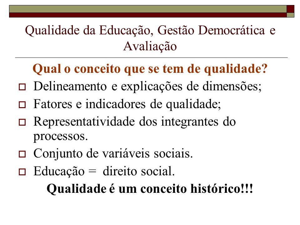 Qualidade da Educação, Gestão Democrática e Avaliação Qual o conceito que se tem de qualidade? Delineamento e explicações de dimensões; Fatores e indi