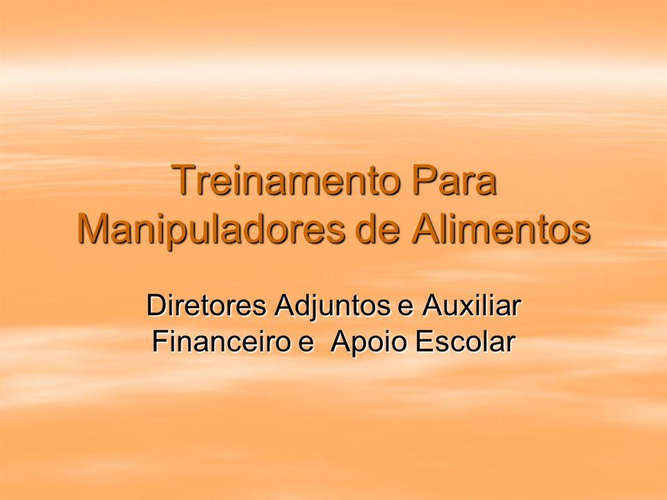 Treinamento Para Manipuladores de Alimentos Diretores Adjuntos e Auxiliar Financeiro e Apoio Escolar