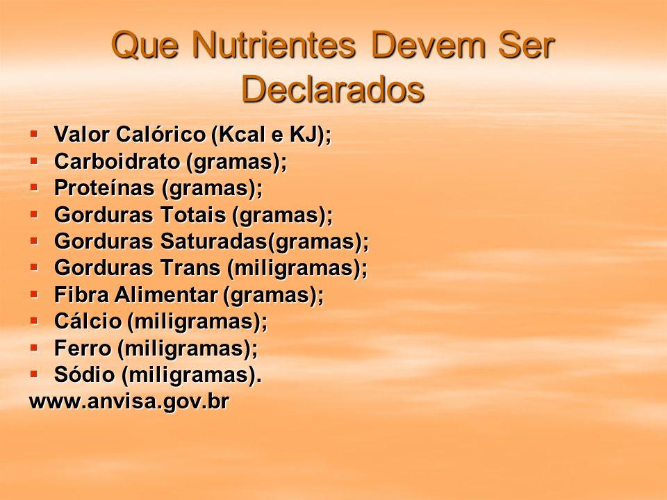 Que Nutrientes Devem Ser Declarados Valor Calórico (Kcal e KJ); Valor Calórico (Kcal e KJ); Carboidrato (gramas); Carboidrato (gramas); Proteínas (gra