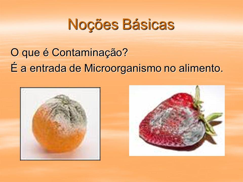 Noções Básicas O que é Contaminação? É a entrada de Microorganismo no alimento.