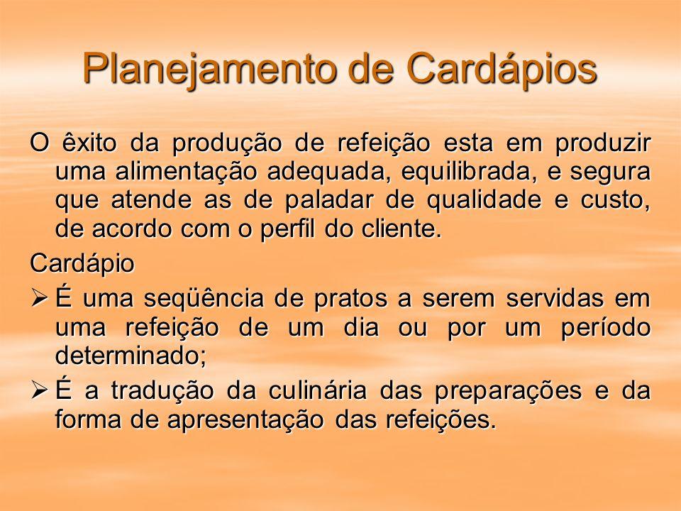 Cardápios O Planejamento do Cardápio Possibilita Dimensionamento dos recursos humanos e materiais; Dimensionamento dos recursos humanos e materiais; Controle de custos (previsão antecipada dos custos); Controle de custos (previsão antecipada dos custos); Planejamento de compras; Planejamento de compras; Fixação dos níveis de estoque; Fixação dos níveis de estoque; Pesquisa e analise das preferências; Pesquisa e analise das preferências; As etapas para elaboração dos cardápios vão desde a seleção até a distribuição das refeições.