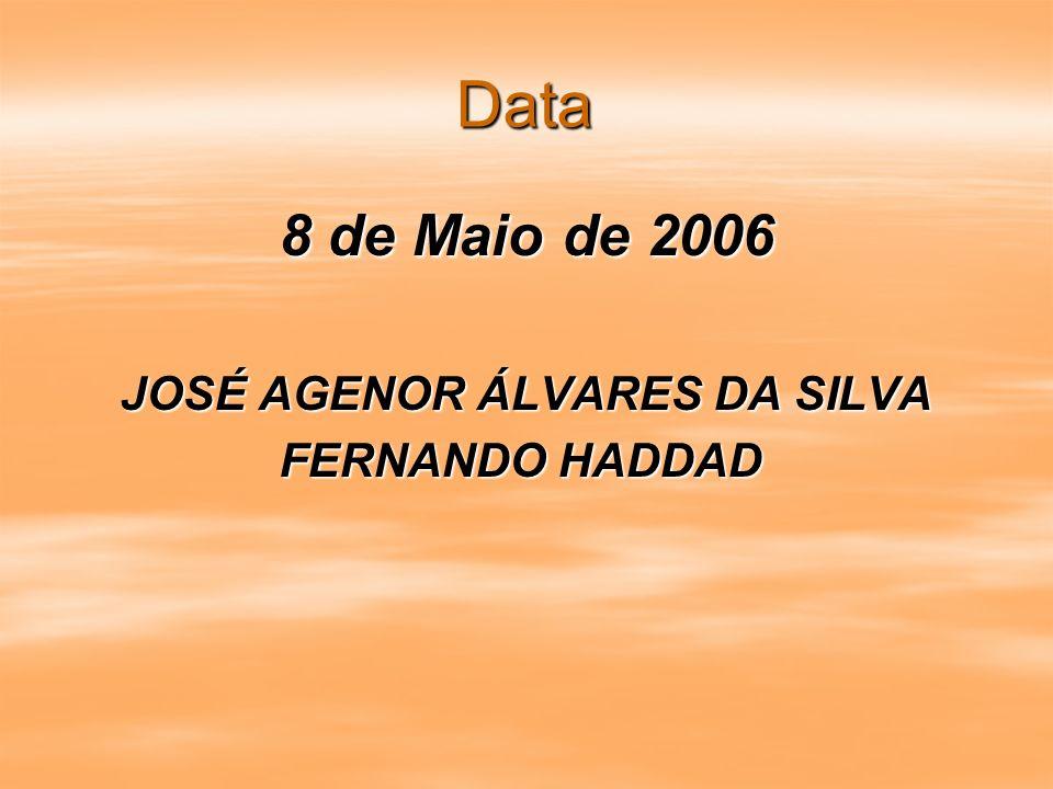 Data 8 de Maio de 2006 JOSÉ AGENOR ÁLVARES DA SILVA FERNANDO HADDAD FERNANDO HADDAD