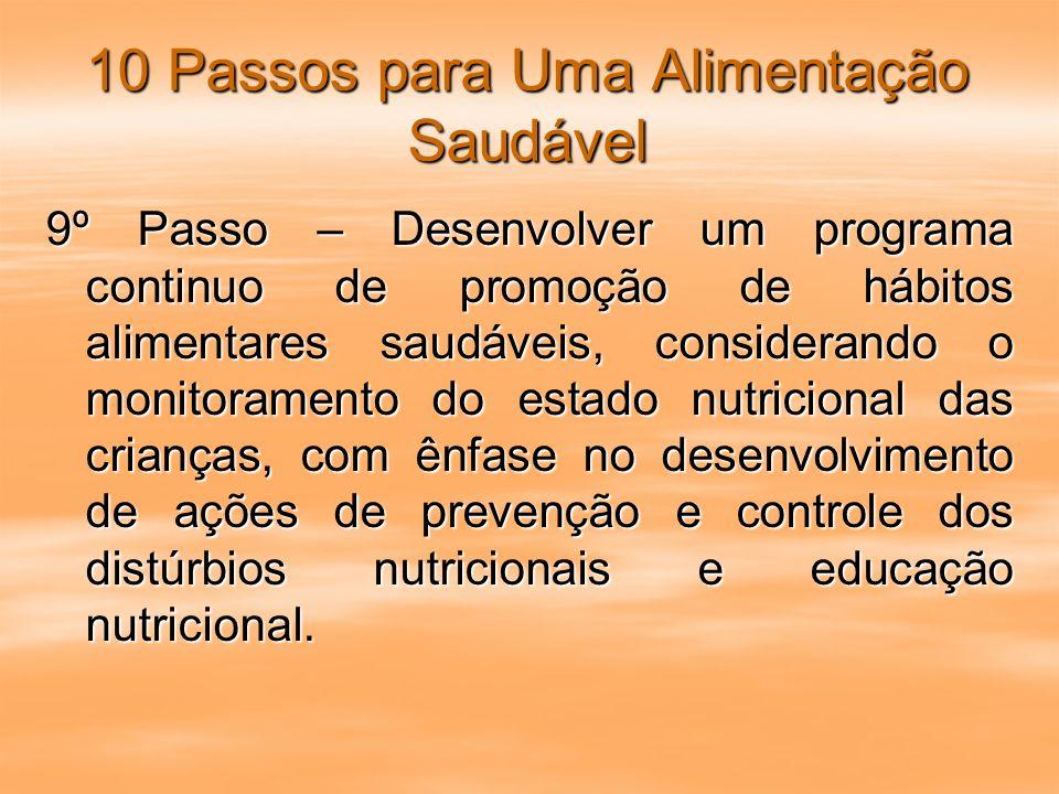 10 Passos para Uma Alimentação Saudável 9º Passo – Desenvolver um programa continuo de promoção de hábitos alimentares saudáveis, considerando o monit