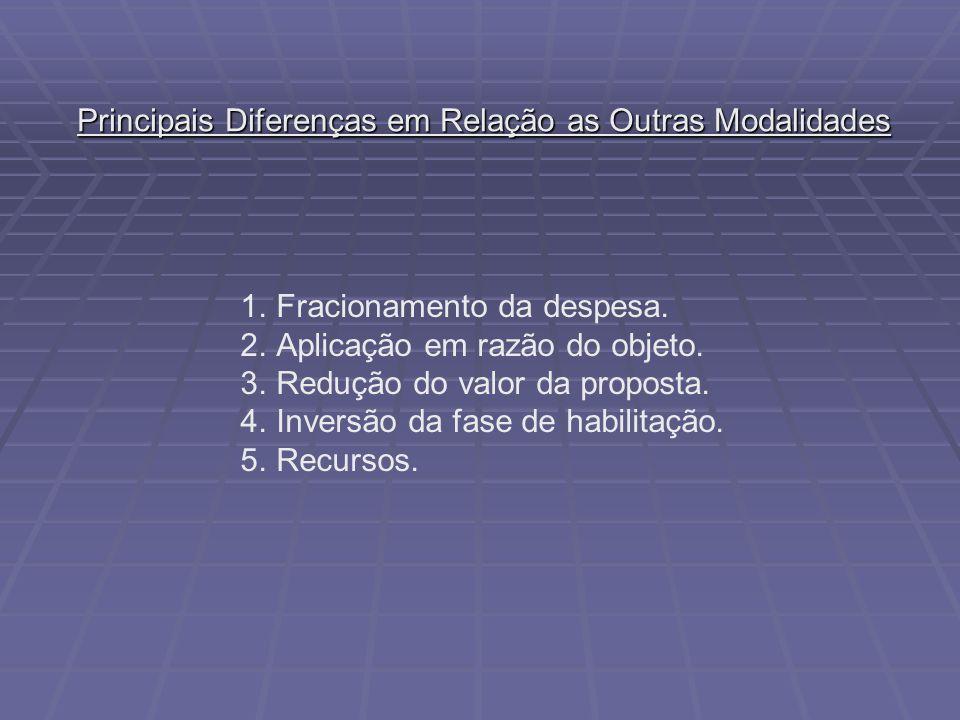 Principais Diferenças em Relação as Outras Modalidades 1.Fracionamento da despesa. 2.Aplicação em razão do objeto. 3.Redução do valor da proposta. 4.I