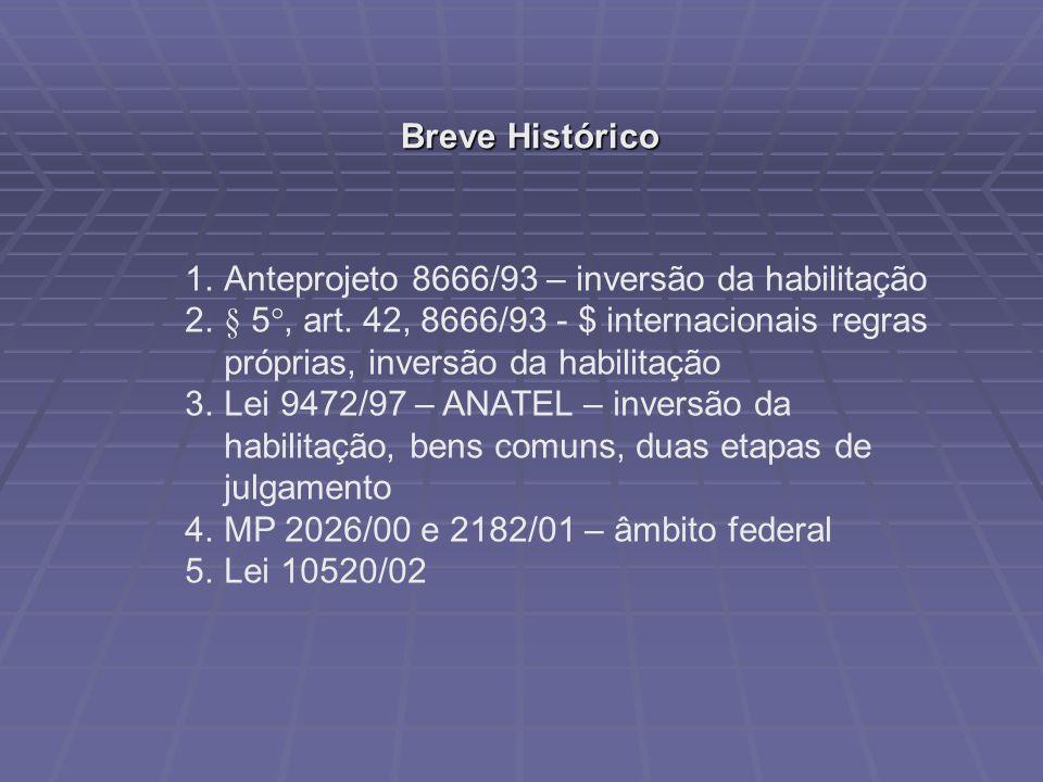 Breve Histórico 1.Anteprojeto 8666/93 – inversão da habilitação 2.§ 5°, art. 42, 8666/93 - $ internacionais regras próprias, inversão da habilitação 3