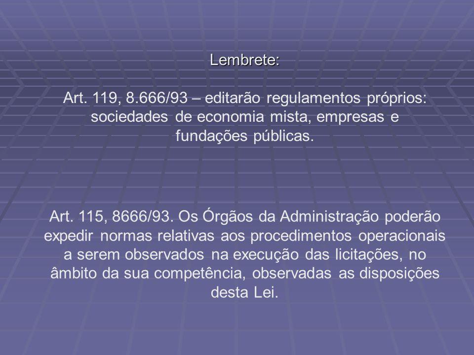 Art. 115, 8666/93. Os Órgãos da Administração poderão expedir normas relativas aos procedimentos operacionais a serem observados na execução das licit
