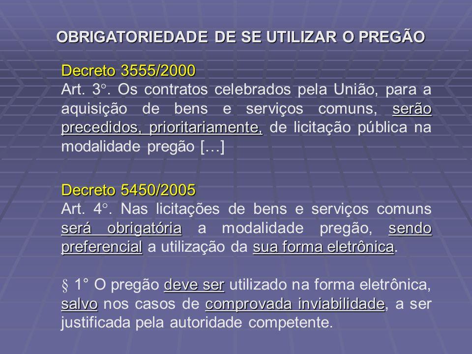 OBRIGATORIEDADE DE SE UTILIZAR O PREGÃO Decreto 3555/2000 serão precedidos, prioritariamente, Art. 3°. Os contratos celebrados pela União, para a aqui