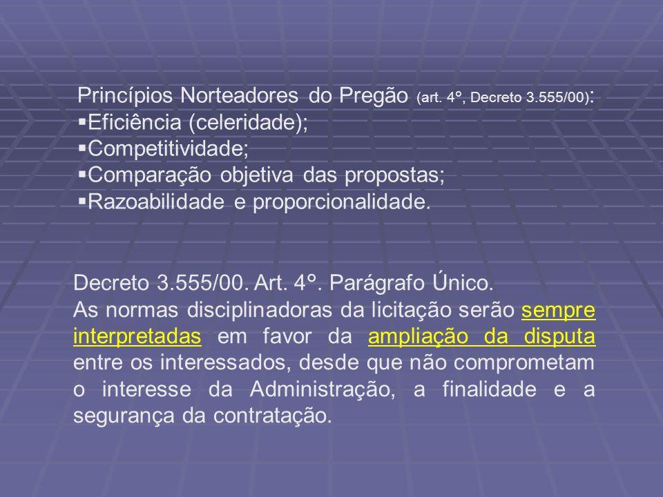 Princípios Norteadores do Pregão (art. 4°, Decreto 3.555/00) : Eficiência (celeridade); Competitividade; Comparação objetiva das propostas; Razoabilid