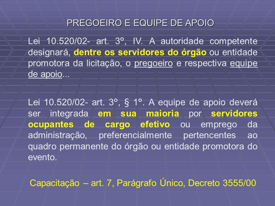 PREGOEIRO E EQUIPE DE APOIO Lei 10.520/02- art. 3°, IV. A autoridade competente designará, dentre os servidores do órgão ou entidade promotora da lici