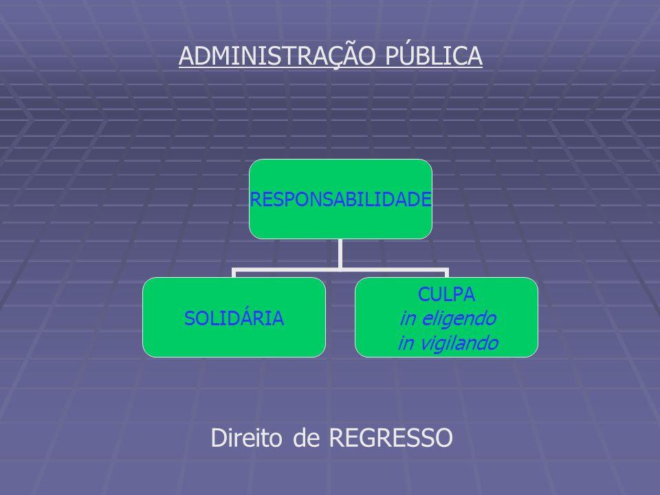 ADMINISTRAÇÃO PÚBLICA RESPONSABILIDADE SOLIDÁRIA CULPA in eligendo in vigilando Direito de REGRESSO