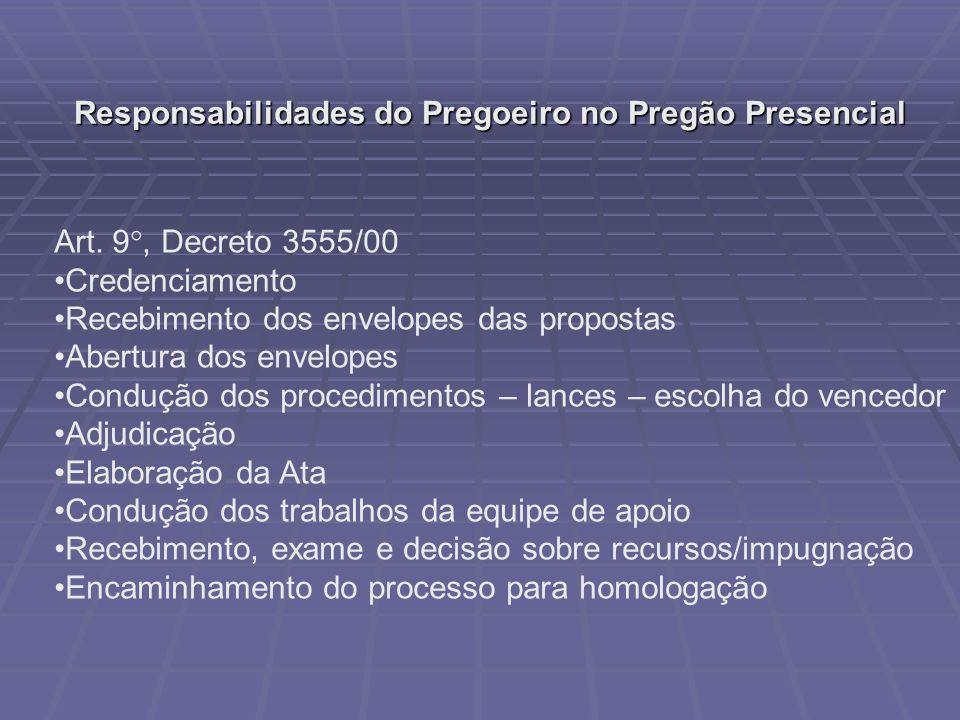 Responsabilidades do Pregoeiro no Pregão Presencial Art. 9 °, Decreto 3555/00 Credenciamento Recebimento dos envelopes das propostas Abertura dos enve
