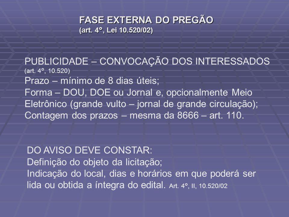 FASE EXTERNA DO PREGÃO (art.4°, Lei 10.520/02) PUBLICIDADE – CONVOCAÇÃO DOS INTERESSADOS (art.