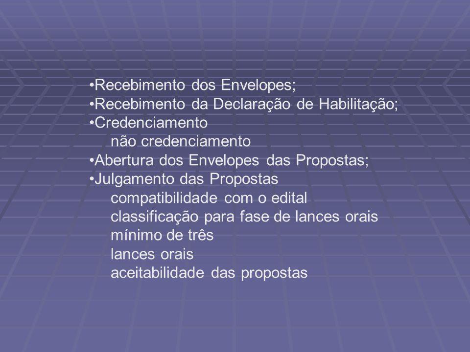 Recebimento dos Envelopes; Recebimento da Declaração de Habilitação; Credenciamento não credenciamento Abertura dos Envelopes das Propostas; Julgament