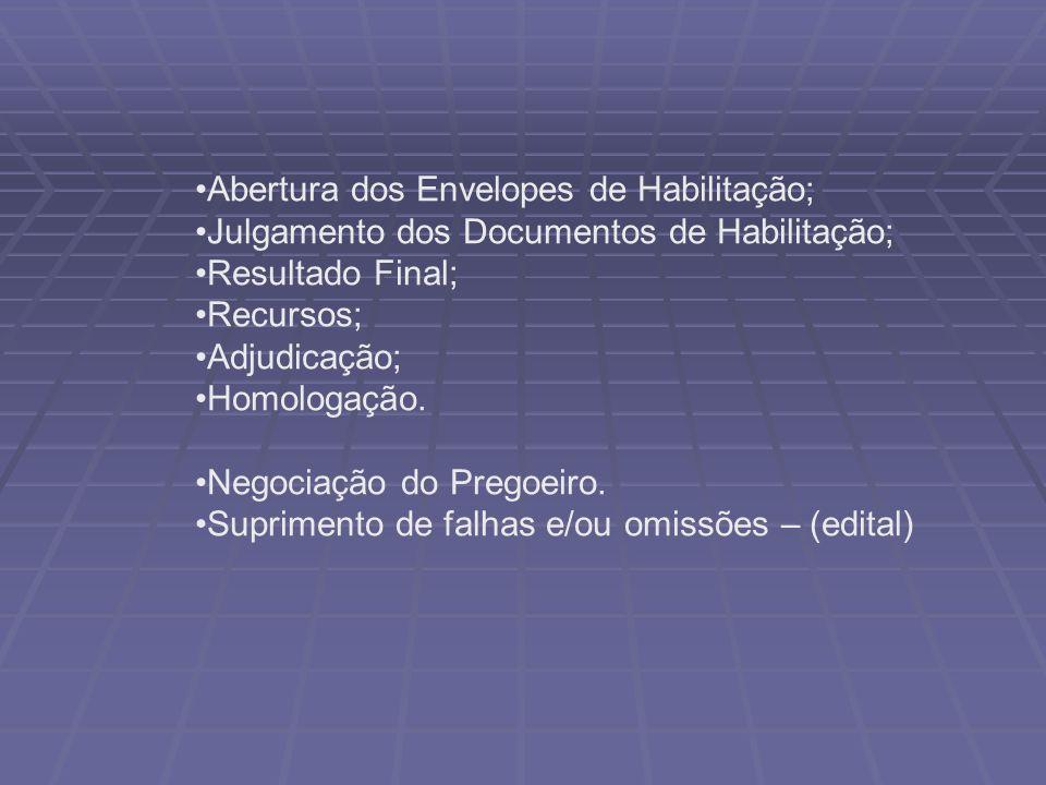 Abertura dos Envelopes de Habilitação; Julgamento dos Documentos de Habilitação; Resultado Final; Recursos; Adjudicação; Homologação.