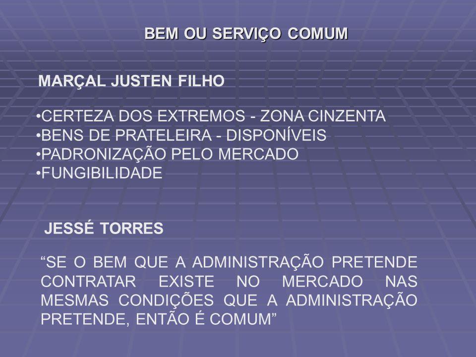 BEM OU SERVIÇO COMUM MARÇAL JUSTEN FILHO CERTEZA DOS EXTREMOS - ZONA CINZENTA BENS DE PRATELEIRA - DISPONÍVEIS PADRONIZAÇÃO PELO MERCADO FUNGIBILIDADE JESSÉ TORRES SE O BEM QUE A ADMINISTRAÇÃO PRETENDE CONTRATAR EXISTE NO MERCADO NAS MESMAS CONDIÇÕES QUE A ADMINISTRAÇÃO PRETENDE, ENTÃO É COMUM