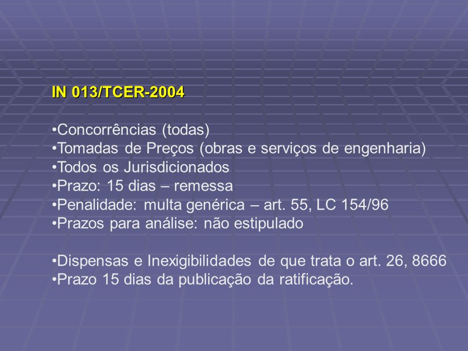 IN 013/TCER-2004 Concorrências (todas) Tomadas de Preços (obras e serviços de engenharia) Todos os Jurisdicionados Prazo: 15 dias – remessa Penalidade: multa genérica – art.