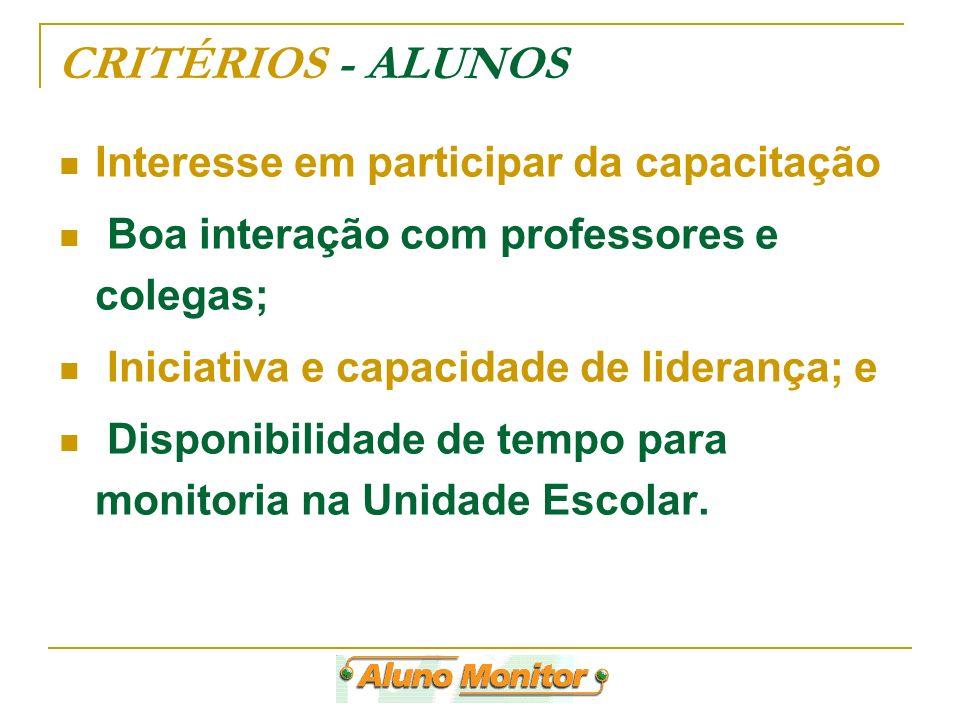 CRITÉRIOS - ALUNOS Interesse em participar da capacitação Boa interação com professores e colegas; Iniciativa e capacidade de liderança; e Disponibili
