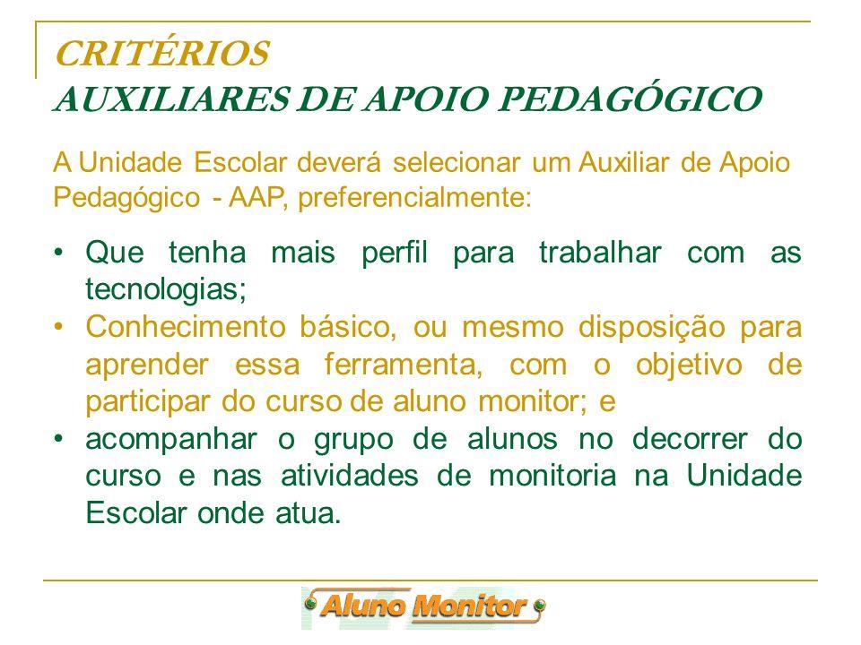 CRITÉRIOS AUXILIARES DE APOIO PEDAGÓGICO Que tenha mais perfil para trabalhar com as tecnologias; Conhecimento básico, ou mesmo disposição para aprend